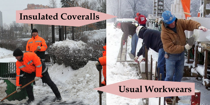 insulated coveralls vs usual workwear