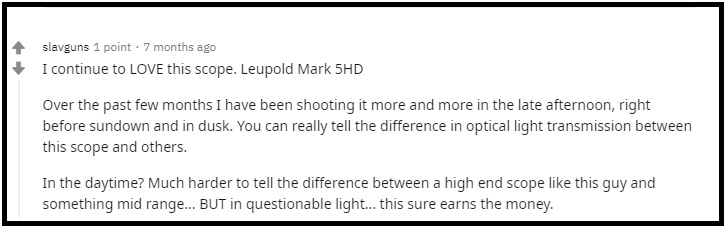 Leupold Mark 5HD Riflescope Reddit comment