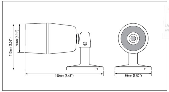 Dimensions of IP Camera